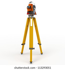 3d total station theodolite  isolated on white