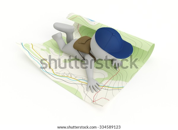 3D tourist reading a map - isolated over a white background
