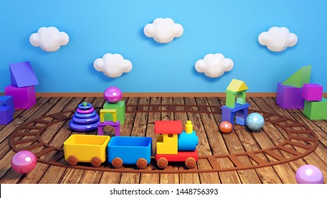 3D toy train playground. Children's playroom with various geometric shapes toys.