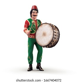 3D Traditional Ramadan Drummer and drum isolated