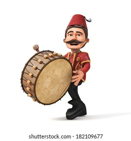 3D Traditional Ramadan Drummer playing drum- isolated