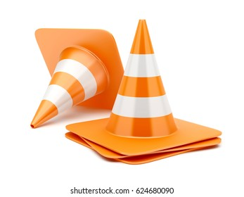 3D Traffic Cones on white background. 3D Rendering