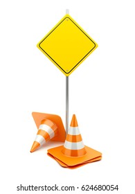 3D Traffic Cones with Road Sign on white background. 3D Rendering