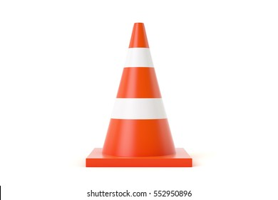 3d traffic cones with white and orange stripes on white background