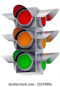 3d Traffic Lights With Red,yellow And Green Light