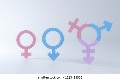3D Transgender symbol, Abstract Male and Female pink, blue, purple icon homosexuality symbols and signs on white floor background. Concept of choice or gender confusion or dysphoria. 3d illustration