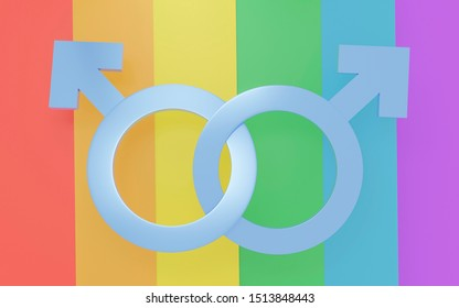3D Transgender symbol, Abstract two blue male icon homosexuality signs LGBT Gay on Rainbow flag background. Concept Pride Love. 3d illustration