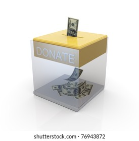 3d transparent donation box with dollar notes