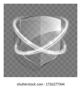 3d transparent shield icon with white glowing effect. 3d illustration