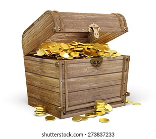 3D. Treasure Chest, Wealth, Gold.