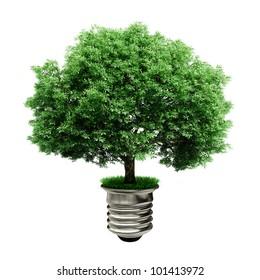 3d tree in a lightbulb, green energy concept