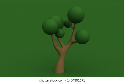 3D tree on color background