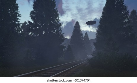 3D Triangular UFOs over the railway