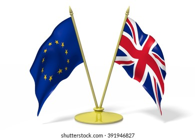 3D two national flags - European Union (EU) and Great Britain.