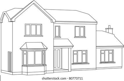 A 3d Two point perspective Line Drawing of a two storey detached house. Raster version