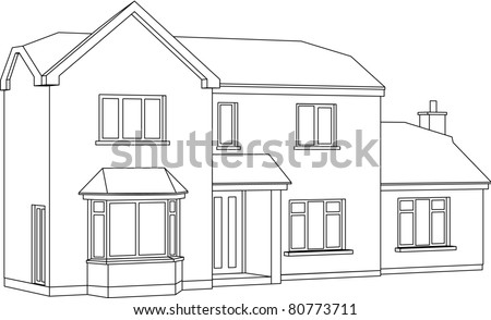 3 D Two Point Perspective Line Drawing Stock Illustration Royalty