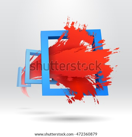3 d typographic template out frame brush stock illustration