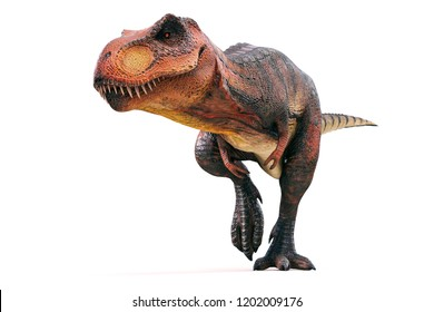 3d Tyrannosaurus rex render on white background