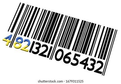 3d Ukrainian barcode on a white background