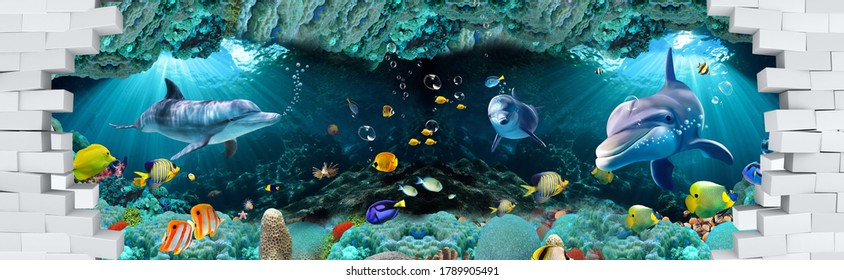 3D Underwater fishes living room wallpaper, 3d illustration for wall decoration High quality wall art.