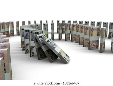 3D United Arab of Emirates money domino isolated on white background