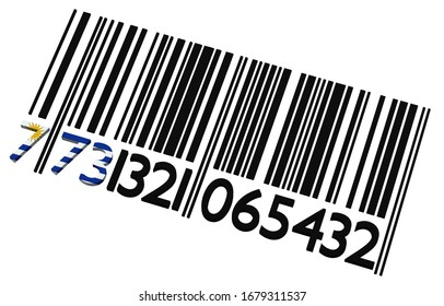 3d Uruguayan barcode on a white background