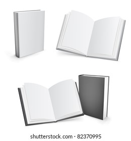 3d vector white and black mesh books isolated on the white background