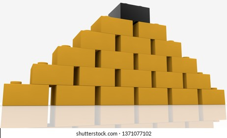 3d View on pyramid with yellow and black toy bricks