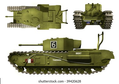 3-D views of Canadian Churchill tank from the Second World War