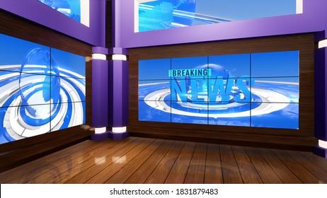 3d virtual news studio, 3d illustration
