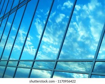3d visualisation of blue glass facade
