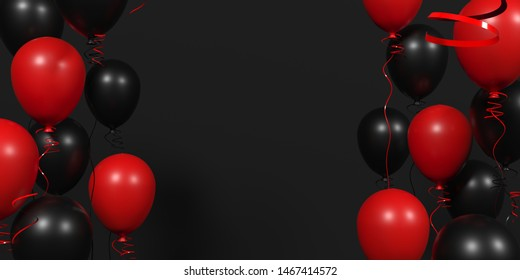 3d visualization. Dark background with red and black balloons for discount offer. Black Friday Sale Horizontal Banners. Modern design.Universal vector background for poster, banners, flyers. Holidays