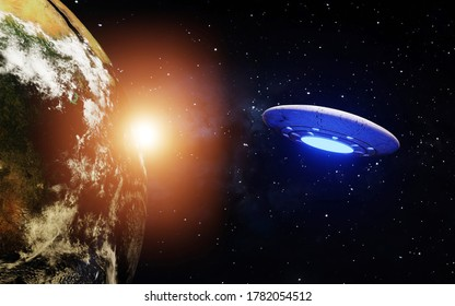 3D Visualization of the Earth with a Spaceship