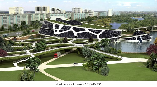 3D visualization of the eco building with bionic form and energy-efficient technologies afloat. Similar images in my portfolio.