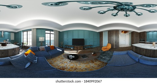3D visualization of the panorama of the apartment. 360 degrees 3D render luxury living room, VR content