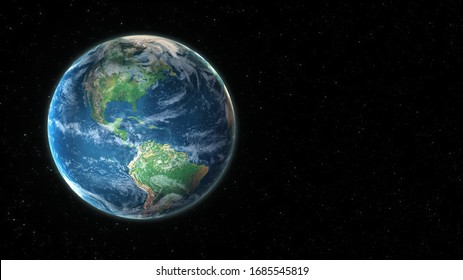 3D visualization of planet earth from outer space with copy space to use your own titles or text. (3D rendering)