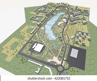 3D visualization rendering architecture park