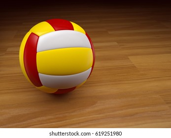 3D Volleyball on wooden background. 3D Rendering