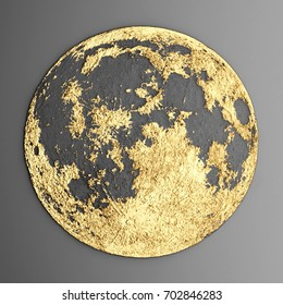 3d wall art Picture modern moon gold
