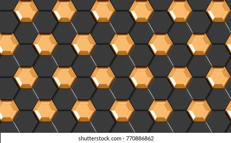 3D wall black hexagon panels with gold element