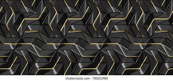 3D wall black panels with gold decor. Shaded geometric modules. High quality seamless 3d illustration.