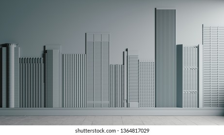 3d wall with buildings. 3d wall with city. Concept art design. 3d illustration