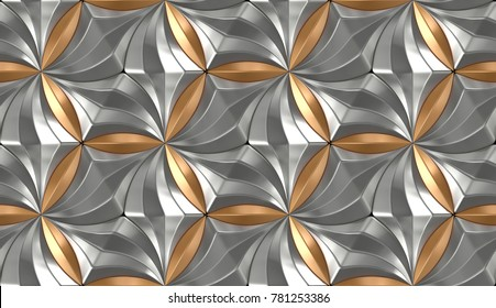 3D wall chrome and gold metal panels . Shine geometric modules. High quality seamless 3d illustration.