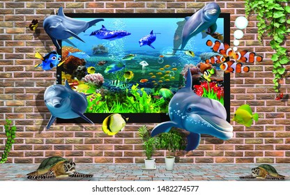 3D Wall design of Fish out from Aquarium