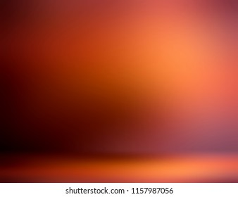 3d wall and floor defocused illustration. Yellow, orange, brown ombre pattern texture. Rustic room abstract background. Empty blurred template.