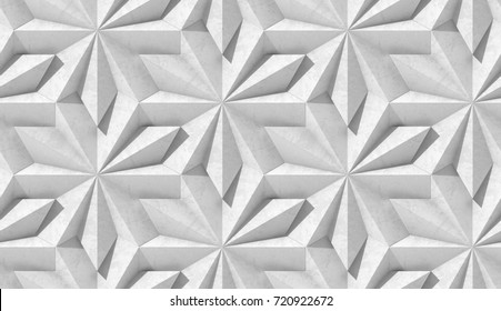 3D wall or floor geometry background natural daylight.Concrete geometric modules. Seamless texture for wall or floor print.