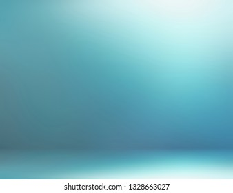 3d wall and floor icy blurred texture. Toned blue shade and faint light pattern. Empty room abstract background. Winter cold studio decor.