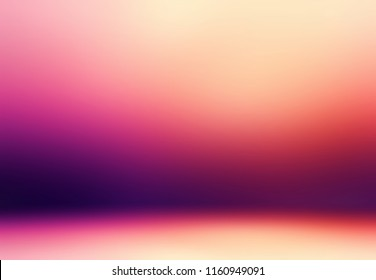 3d wall and floor painting defocused illustration. Red, magenta, purple, yellow gradient texture. Woman fashion studio empty background. Vibrant blurred pattern. Abstract template.