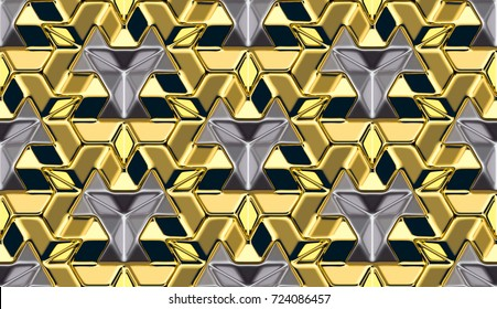 3D wall gold panels with metallic elemets. Shine geometric modules. High quality seamless 3d illustration.