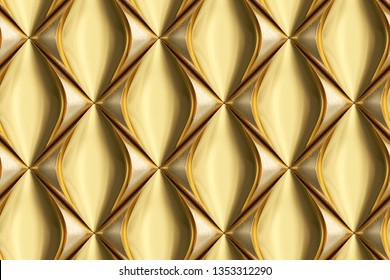 3D wall panels made of golden leather with gold metal elements. High quality seamless texture.